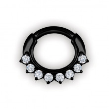 BK 316 STEEL JEWELLED CURVED BAR SEPTUM CLICKERS