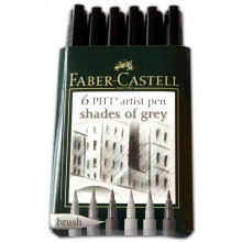 PITT ARTIST PEN KIT 6pcs GREY SHADE COLOURS