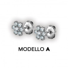 FLOWER EAR STUDS W/ ZIRCONIA CR