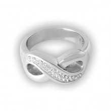 STEEL CRYSTAL INFINITY RING