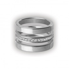 CUBIC JEWELLED STEEL TRIPLE RING